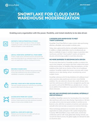 Snowflake for Cloud Data Warehouse Modernization