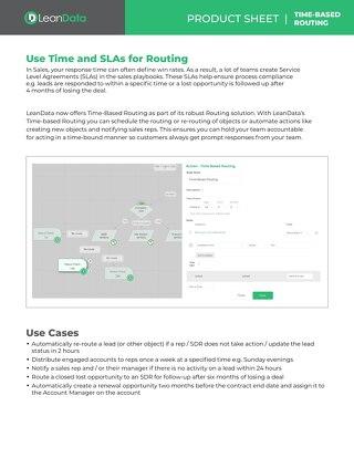 Time-Based Routing Datasheet