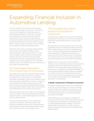 Expanding Financial Inclusion in Automotive Lending