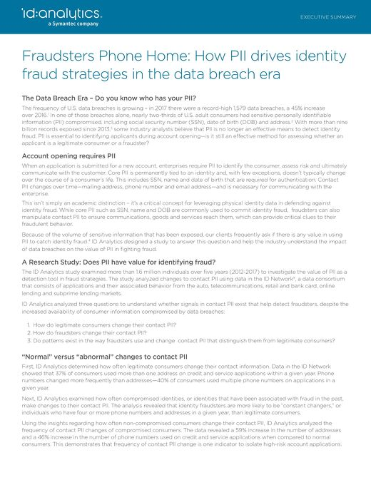 Fraudsters Phone Home: How PII drives identity fraud strategies in the data breach era