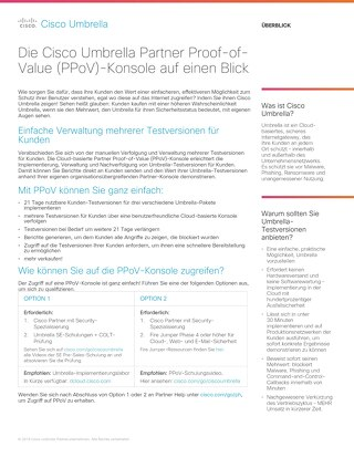 Cisco Umbrella - Partner Proof-of-Value (PPoV)-Konsole auf einen Blick