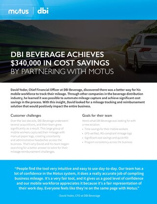 DBI Beverage Achieves $340,000 in Cost Savings by Partnering with Motus
