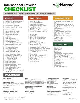International Traveler Checklist