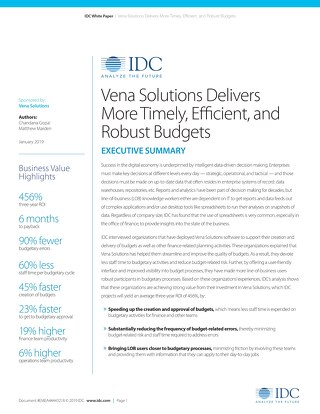 IDC: Vena Delivers More Timely, Efficient, Robust Budgets