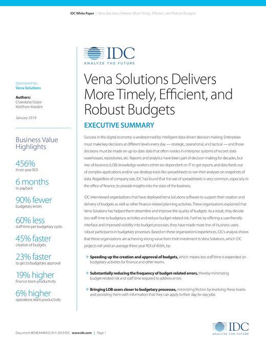IDC: Vena Budgeting ROI Report - Executive Summary