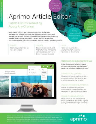 Aprimo Article Editor Data Sheet