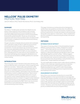 White Paper: Nellcor™ Pulse Oximetry Motion Testing