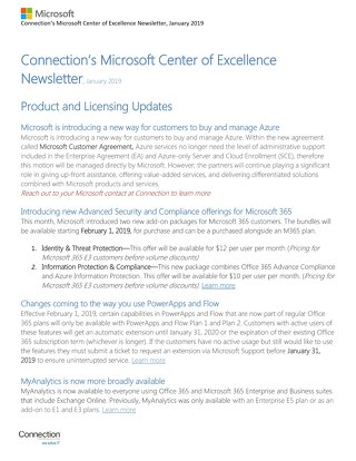 Connection's Microsoft Center of Excellence Newsletter-January 2019