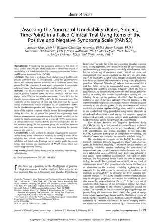 Assessing the Sources of Unreliability in Failed Clinical Trials Using PANSS