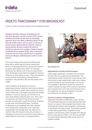 Datasheet: TraceMark™ for Broadcast