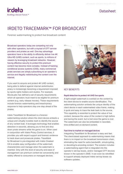 Datasheet: Irdeto TraceMark™ for Broadcast