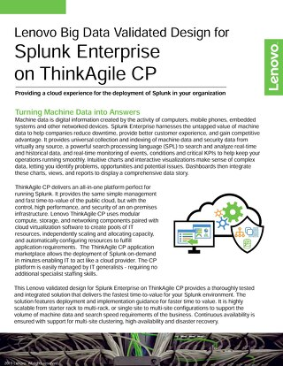 Lenovo Big Data Validated Design for Splunk Enterprise on ThinkAgile CP