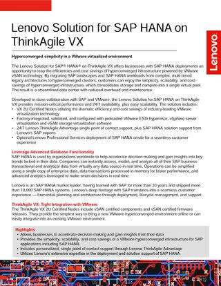 Lenovo Solution for SAP HANA on ThinkAgile VX