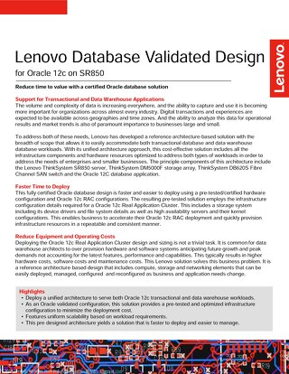 Lenovo Database Validated Design for Oracle 12c on SR850