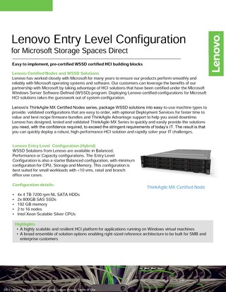 Lenovo Entry Level Configuration for Microsoft Storage Spaces Direct