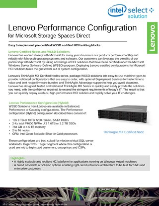 Lenovo Performance Configuration for Microsoft Storage Spaces Direct