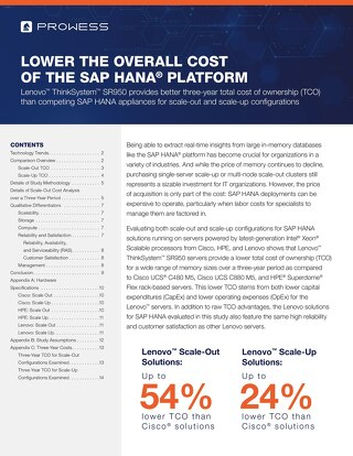White Paper: Lower the Overall Cost of the SAP HANA Platform