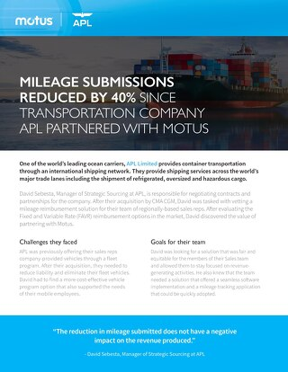 Mileage Submissions Reduced by 40% Since Transportation Company APL Partnered With Motus
