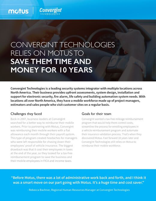 Convergint Technologies Relies on Motus to Save Them Time and Money for 10 Years