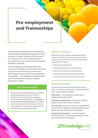 Pre-employment and traineeships - Overview