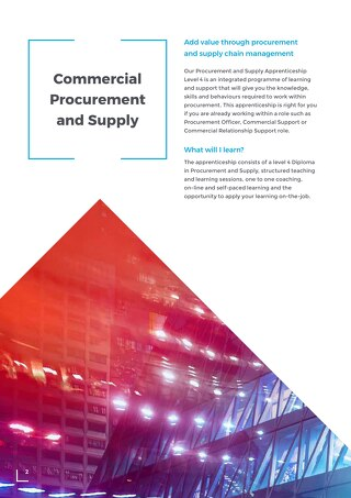 Commercial Procurement and Supply Level 4 Overview