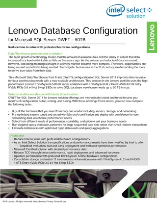 Lenovo Database Configuration for Microsoft SQL Server DWFT 50TB