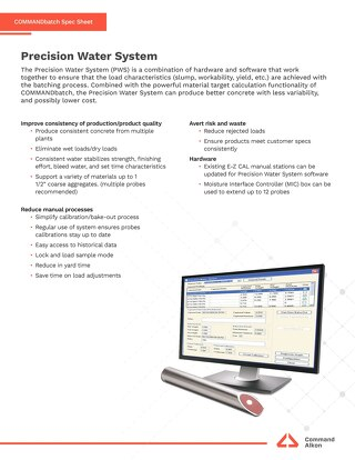 Precision Water System Spec Sheet