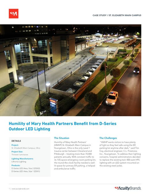 Humility of Mary Health Partners Benefit from D-Series Outdoor LED Lighting