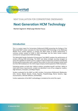 NelsonHall - NEAT EVALUATION FOR CORNERSTONE ONDEMAND: Next Generation HCM Technology