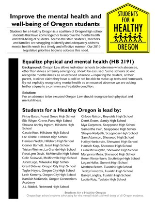 Improve the mental health and well-being of Oregon students