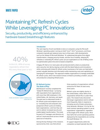 Maintaining PC Refresh Cycles While Leveraging PC Innovation