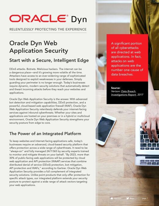 Oracle Dyn Web Application Security Overview