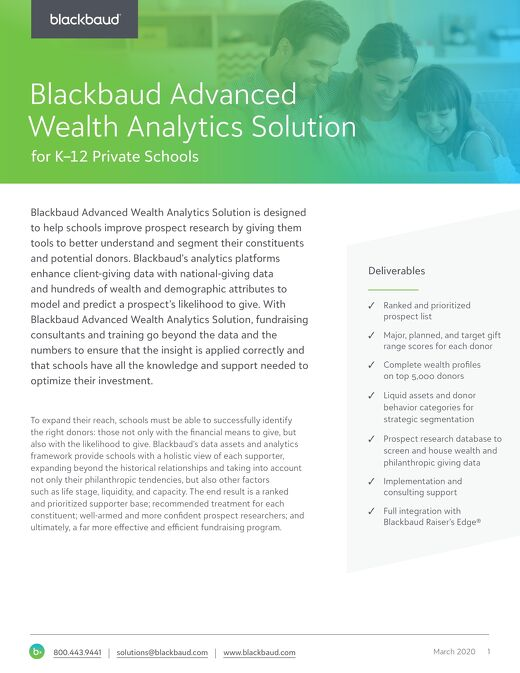 Blackbaud Advanced Wealth Analytics Solution