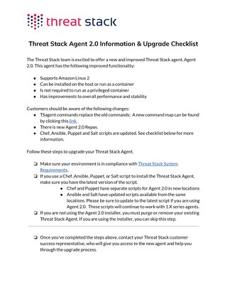 Agent 2.0 Upgrade Check List