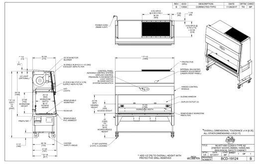 [Drawing] LabGard NU-677-600 Animal Handling Biosafety Cabinet