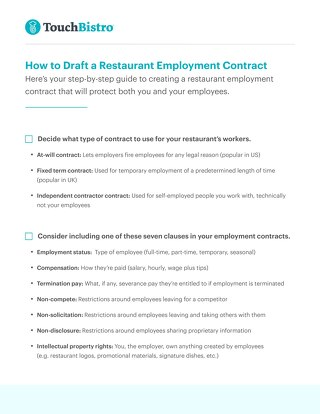 How to Draft a Restaurant Employment Contract Checklist