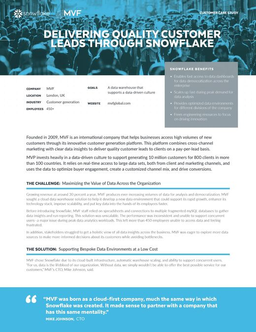 MVF: Delivering Quality Customer Leads Through Snowflake