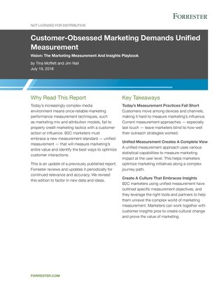 Forrester Report: Customer-Obsessed Marketing Demands Unified Measurement