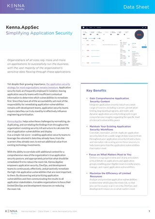 Kenna Application Risk Module Data Sheet