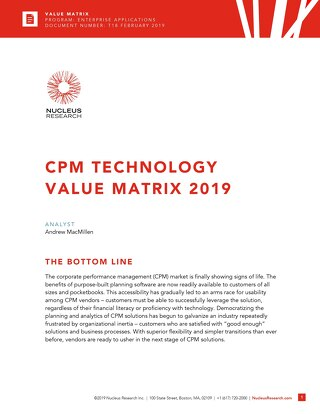 Nucleus Research: 2019 CPM Technology Value Matrix Report