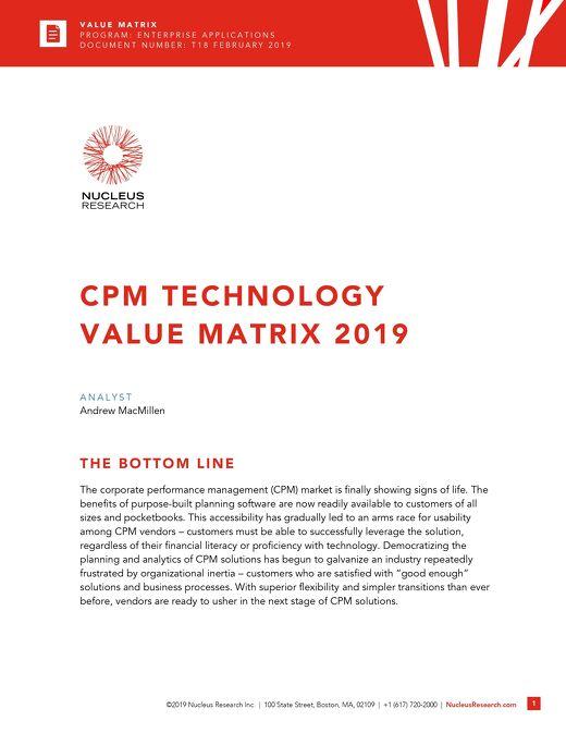 Nucleus: CPM Technology Value Matrix 2019