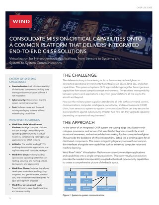 Consolidate Mission-Critical Capabilities onto a Common Platform That Delivers Integrated End-to-End C4ISR Solutions