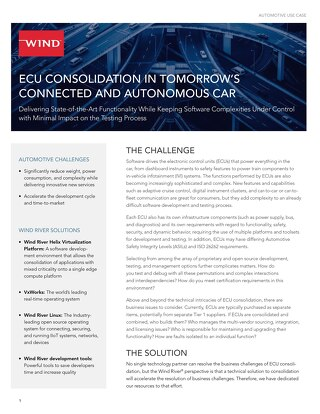 ECU Consolidation in Tomorrow's Connected and Autonomous Car