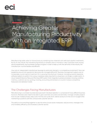 Achieving Greater Manufacturing Productivity With An Integrated ERP