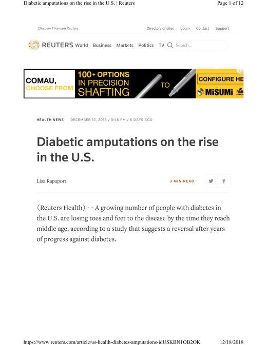 Reuters Health: Diabetic Amputations on the Rise in the U.S.