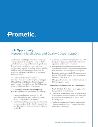 Laval, CA - Manager, Microbiology and Quality Control Support