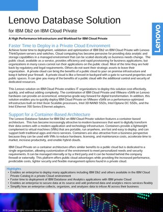 Lenovo Database Solution for IBM Db2 on IBM Cloud Private
