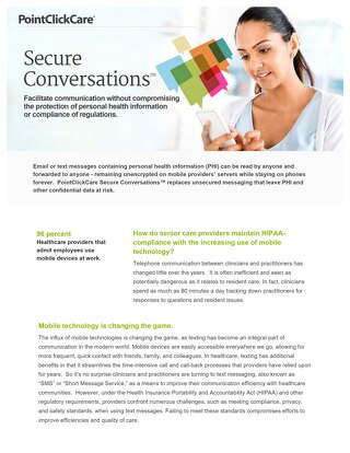 Secure Conversations™ for US - SolutionSheet - PointClickCare