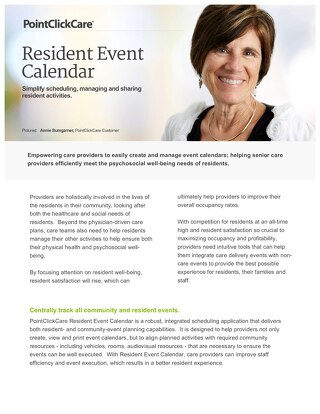 Resident Event Calendar - Solution Sheet - PointClickCare