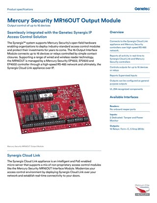 Mercury MR16OUT Output Panel datasheet
